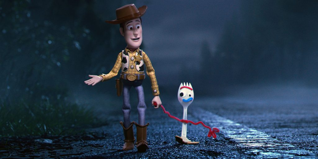 """LEADING THE WAY -- In Disney•Pixar's """"Toy Story 4,"""" Bonnie's beloved new craft-project-turned-toy, Forky, declares himself trash and not a toy, so Woody takes it upon himself to show Forky why he should embrace being a toy. Featuring Tom Hanks as the voice of Woody, and Tony Hale as the voice of Forky, """"Toy Story 4"""" opens in U.S. theaters on June 21, 2019...©2019 Disney•Pixar. All Rights Reserved."""
