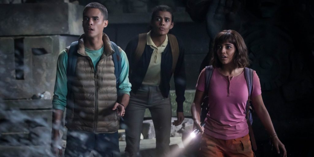 "L-R, Jeff Wahlberg, Madeleine Madden and Isabela Moner star in ""Dora and the Lost City of Gold."""
