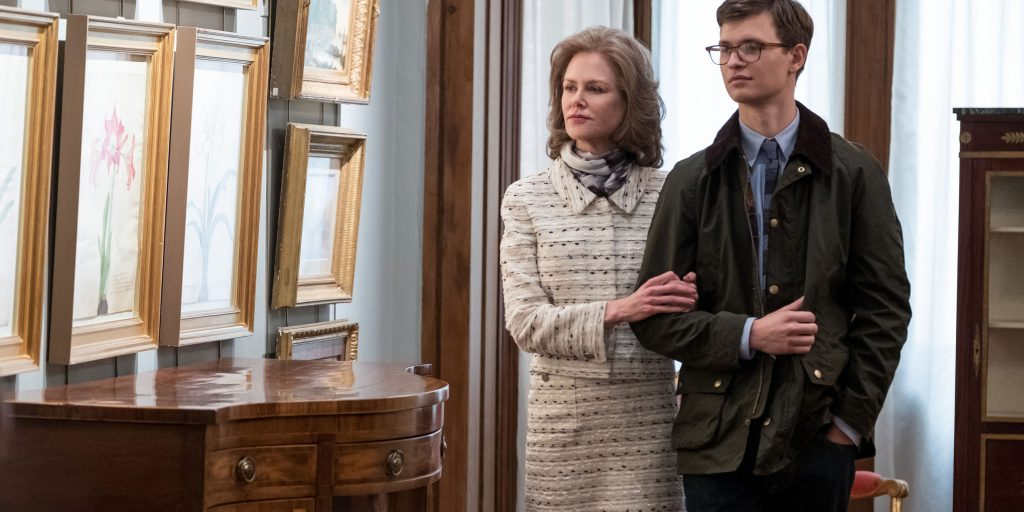 THE GOLDFINCH  Copyright: © 2018 WARNER BROS. ENTERTAINMENT INC. AND AMAZON CONTENT SERVICES LLC  Photo Credit: Macall Polay  Caption: (L-r) NICOLE KIDMAN as Mrs. Barbour and ANSEL ELGORT as Theo Decker in Warner Bros. Pictures' and Amazon Studios' drama, THE GOLDFINCH, a Warner Bros. Pictures release.