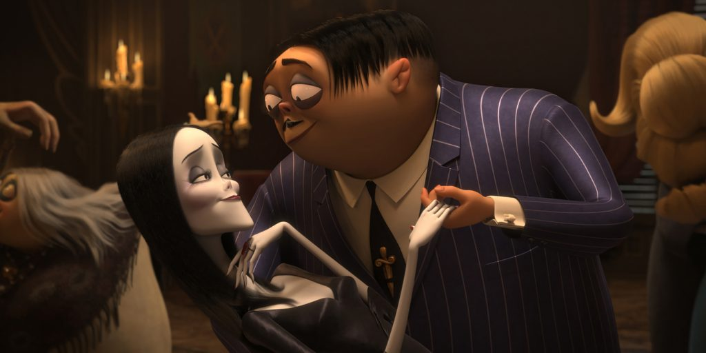 The iconic Addam's family returns in the animated film featuring Charlize Theron as Morticia Addams (left) and Oscar Isaac as Gomez Addams (right).