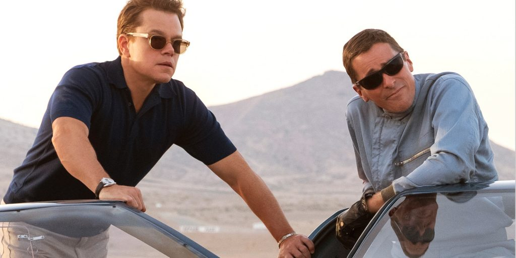 Matt Damon and Christian Bale on the set of Twentieth Century Fox's FORD V FERRARI.